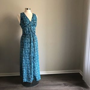 Derek Lam Design Nation Teal Maxi Dress XL   *C19